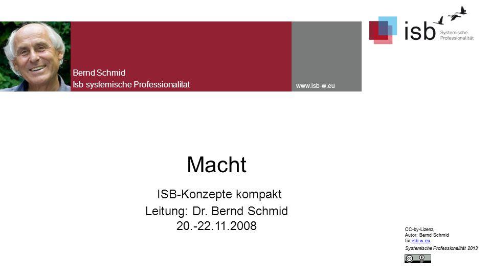 CC-by-Lizenz, Autor: Bernd Schmid für isb-w.euisb-w.eu Systemische Professionalität 2013 www.isb-w.eu Macht ISB-Konzepte kompakt Leitung: Dr.