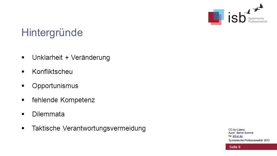 CC-by-Lizenz, Autor: Bernd Schmid für isb-w.euisb-w.eu Systemische Professionalität 2013 Seite 9 Hintergründe  Unklarheit + Veränderung  Konfliktscheu  Opportunismus  fehlende Kompetenz  Dilemmata  Taktische Verantwortungsvermeidung CC-by-Lizenz, Autor: Bernd Schmid für isb-w.euisb-w.eu Systemische Professionalität 2013