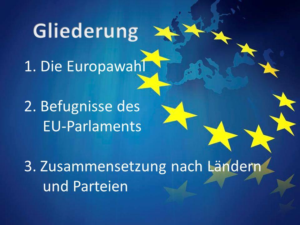 1. Die Europawahl 2. Befugnisse des EU-Parlaments 3. Zusammensetzung nach Ländern und Parteien