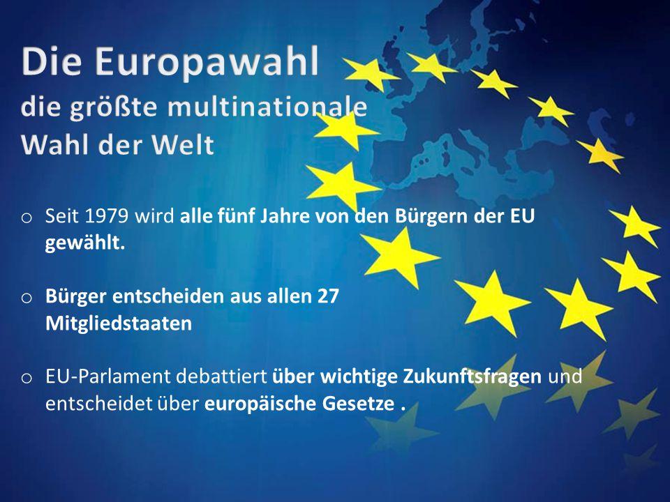 o Seit 1979 wird alle fünf Jahre von den Bürgern der EU gewählt.
