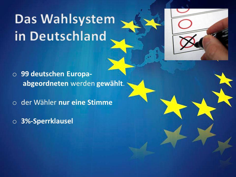 o 99 deutschen Europa- abgeordneten werden gewählt. o der Wähler nur eine Stimme o 3%-Sperrklausel