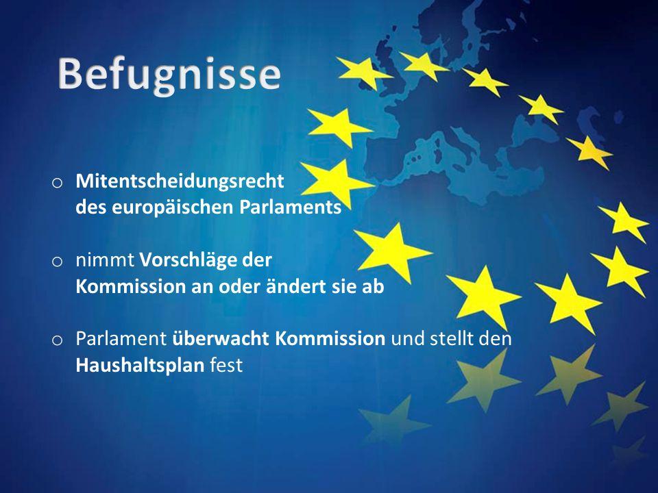 o Mitentscheidungsrecht des europäischen Parlaments o nimmt Vorschläge der Kommission an oder ändert sie ab o Parlament überwacht Kommission und stellt den Haushaltsplan fest