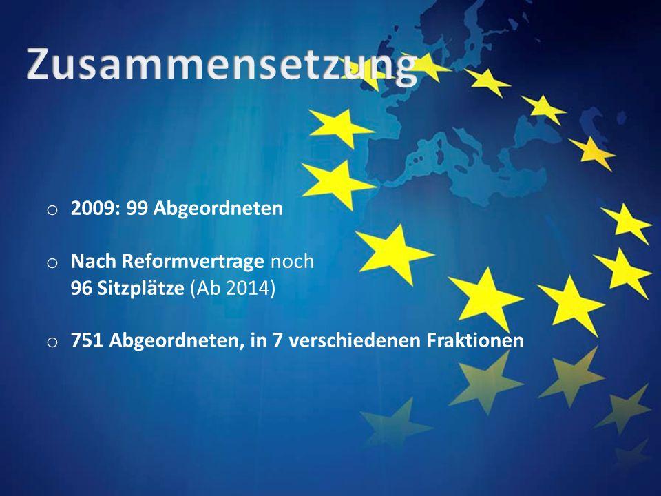 o 2009: 99 Abgeordneten o Nach Reformvertrage noch 96 Sitzplätze (Ab 2014) o 751 Abgeordneten, in 7 verschiedenen Fraktionen