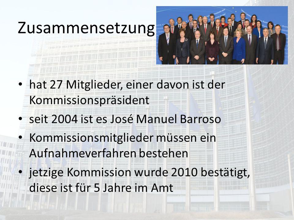 5 Hauptaufgaben Motor der europäischen Einigung Verwaltung der EU Europäischer Kassenwart Überwacht die Einhaltung der EU-Verträge Führt den Haushaltsplan