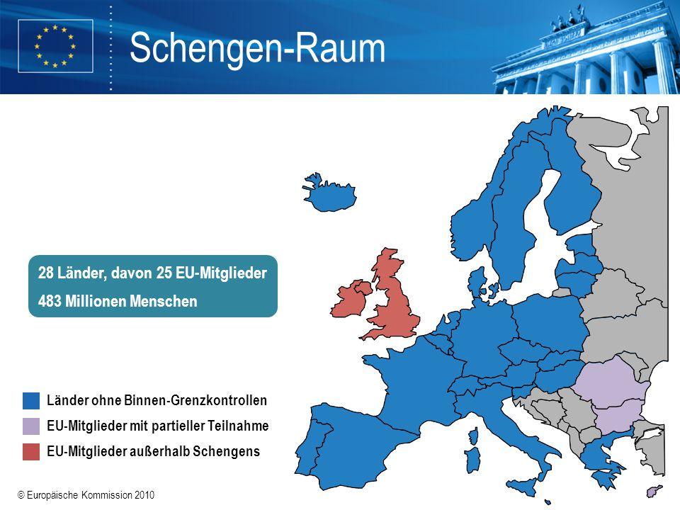© Europäische Kommission 2010 Schengen-Raum Länder ohne Binnen-Grenzkontrollen EU-Mitglieder mit partieller Teilnahme EU-Mitglieder außerhalb Schengen