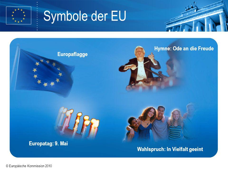 © Europäische Kommission 2010 Europapolitik Rat der Europäischen Union Europäisches Parlament Europäische Kommission Primäres EU-Recht (EUV & AEUV) Sekundäres EU-Recht Verordnungen (VO) Richtlinien (RL) Entscheidungen & Beschlüsse Empfehlungen & Mitteilungen gilt unmittelbar in nationales Recht umzusetzen rechtlich nicht verbindlich