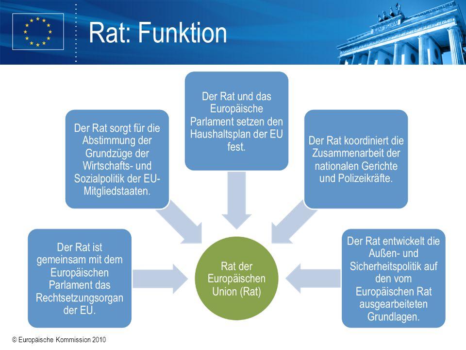 © Europäische Kommission 2010 Rat: Funktion