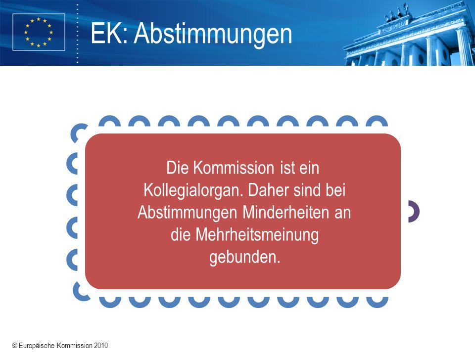 © Europäische Kommission 2010 Die Europäische Kommission besteht aus 27 Kommissaren aus den 27 Mitgliedstaaten (einschließlich ihres Präsidenten und d