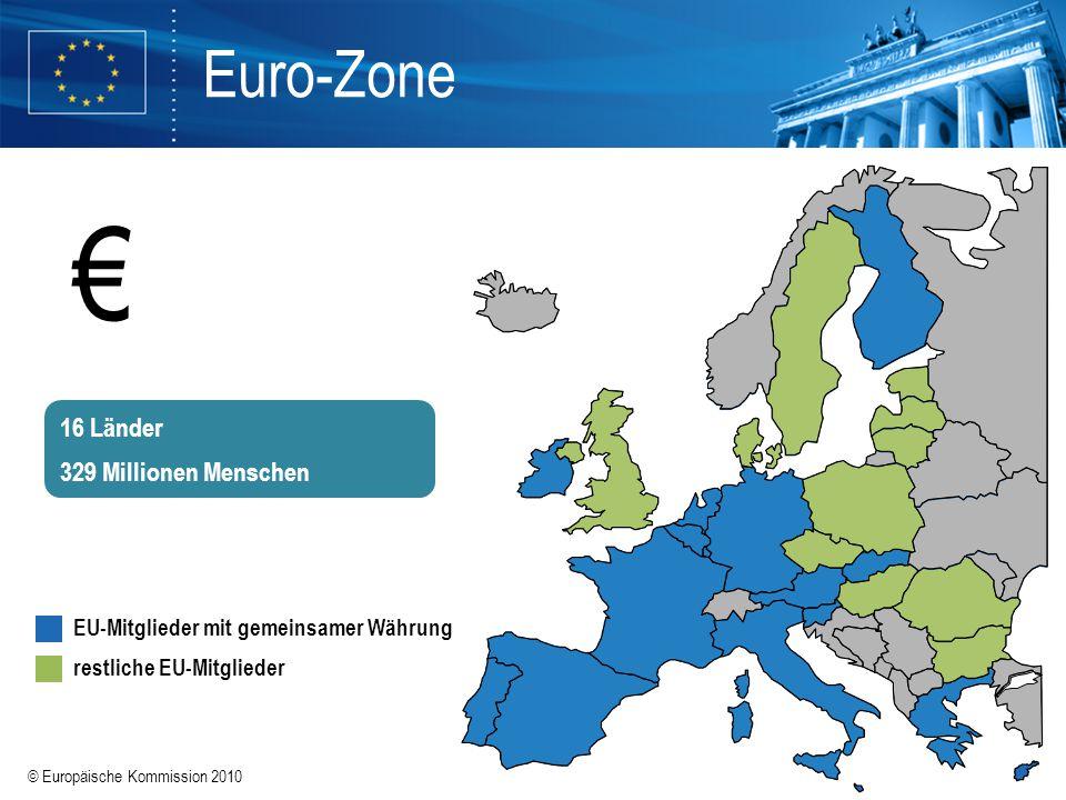 © Europäische Kommission 2010 Euro-Zone EU-Mitglieder mit gemeinsamer Währung restliche EU-Mitglieder 16 Länder 329 Millionen Menschen €