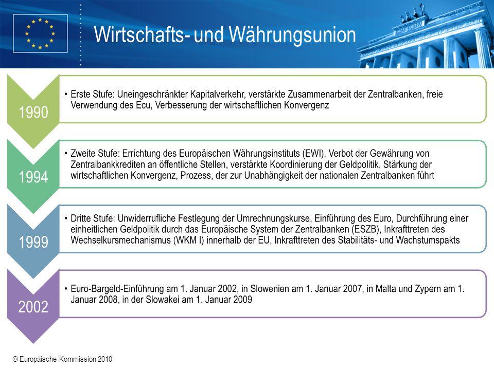 © Europäische Kommission 2010 Wirtschafts- und Währungsunion