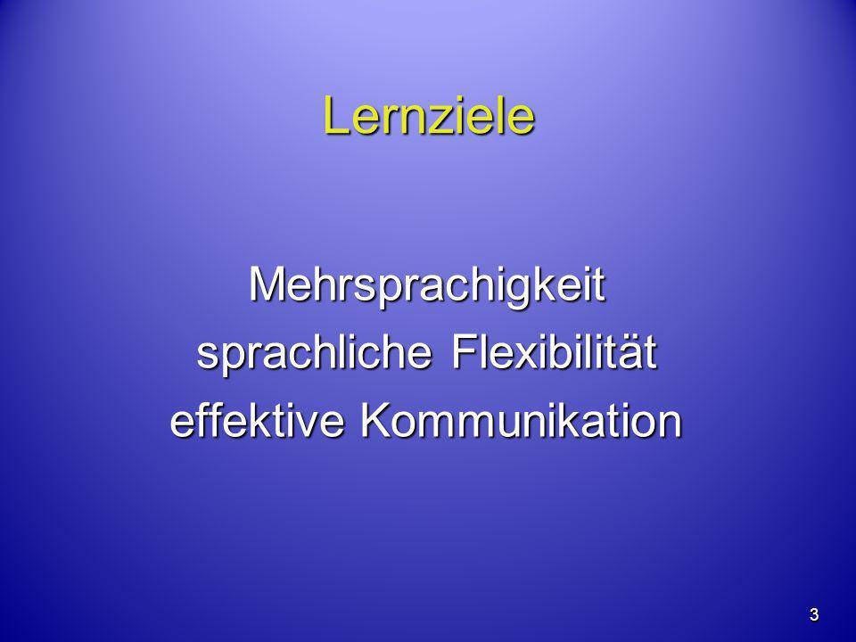 3 Lernziele Mehrsprachigkeit sprachliche Flexibilität effektive Kommunikation