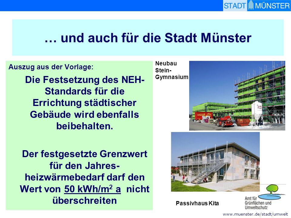 www.muenster.de/stadt/umwelt … und auch für die Stadt Münster Auszug aus der Vorlage: Die Festsetzung des NEH- Standards für die Errichtung städtische