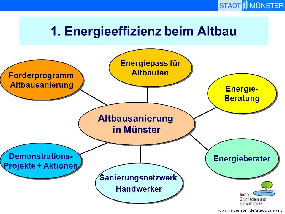 www.muenster.de/stadt/umwelt 1. Energieeffizienz beim Altbau Demonstrations- Projekte + Aktionen Demonstrations- Projekte + Aktionen Förderprogramm Al