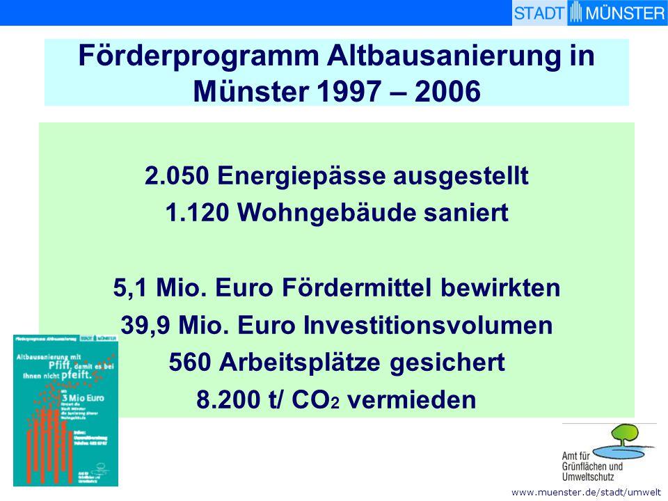 www.muenster.de/stadt/umwelt … aber auch die Stadt Münster saniert Stadthaus 2 – Sanierung auf Niedrigenergiehaus-Standard Heizenergieverbrauch von 125 kWh/m2 a auf 41 kWh/m 2 a reduziert Baujahr 1964 – Sanierung 2000 / 2001 Dämmung aller Bauteile Lüftungskonzept mit Be-/Entlüftung Präsenzmelder geben Heizbetrieb frei Fensterkontakte sperren Heizbetrieb Kühlung EDV und Kantine mit Abwärme- nutzung