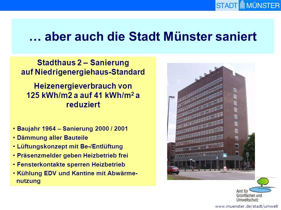 www.muenster.de/stadt/umwelt … aber auch die Stadt Münster saniert Stadthaus 2 – Sanierung auf Niedrigenergiehaus-Standard Heizenergieverbrauch von 12