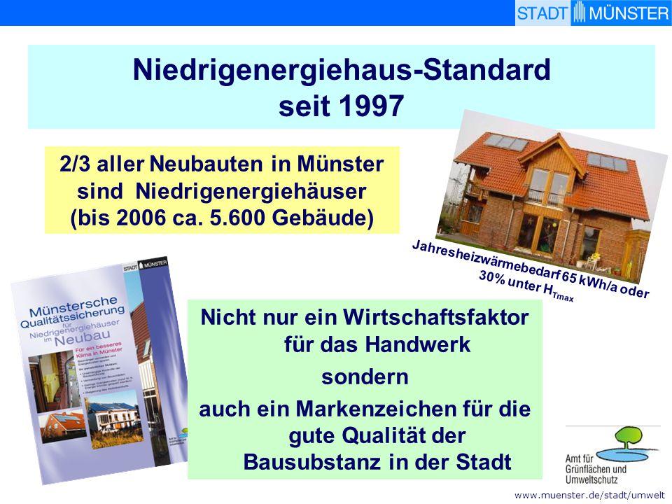 www.muenster.de/stadt/umwelt Niedrigenergiehaus-Standard seit 1997 Nicht nur ein Wirtschaftsfaktor für das Handwerk sondern auch ein Markenzeichen für