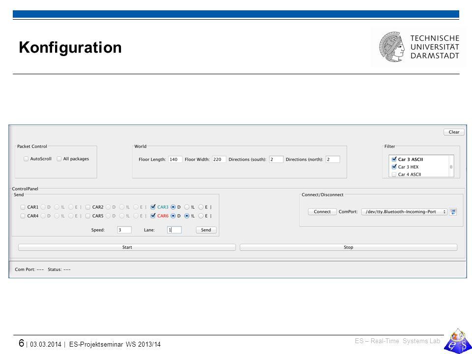 ES – Real-Time Systems Lab 6 | 03.03.2014 | ES-Projektseminar WS 2013/14 Konfiguration