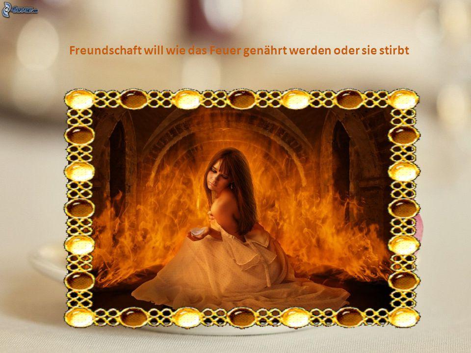 Freundschaft will wie das Feuer genährt werden oder sie stirbt