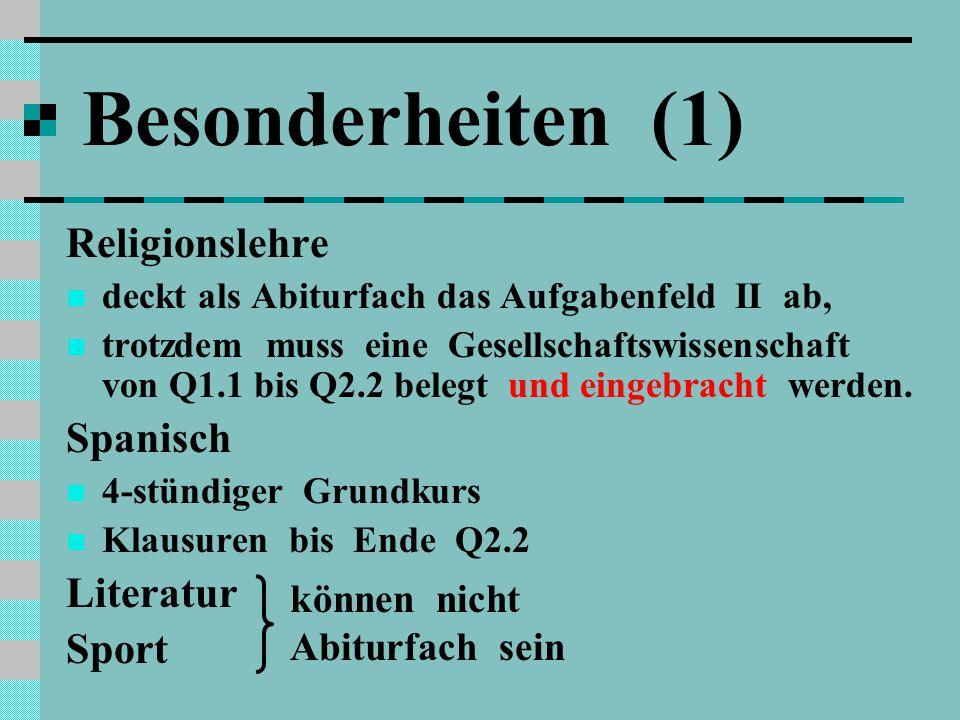 Besonderheiten (1) Religionslehre deckt als Abiturfach das Aufgabenfeld II ab, trotzdem muss eine Gesellschaftswissenschaft von Q1.1 bis Q2.2 belegt und eingebracht werden.