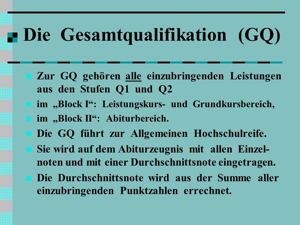 """Die Gesamtqualifikation (GQ) Zur GQ gehören alle einzubringenden Leistungen aus den Stufen Q1 und Q2 im """"Block I : Leistungskurs- und Grundkursbereich, im """"Block II : Abiturbereich."""