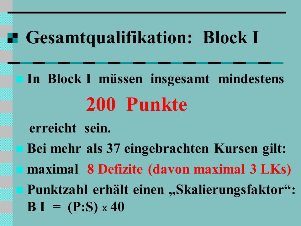 Gesamtqualifikation: Block I In Block I müssen insgesamt mindestens 200 Punkte erreicht sein.