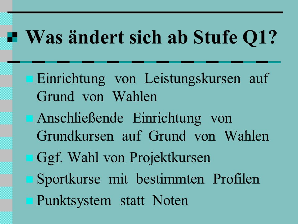 Übersicht AFFachQ1.1Q1.2Q2.1Q2.2 I Pflicht- bereich Deutschxxxx Fremdsprache (E, F, S)xxxx Künstlerisches Fachxx Ggf.