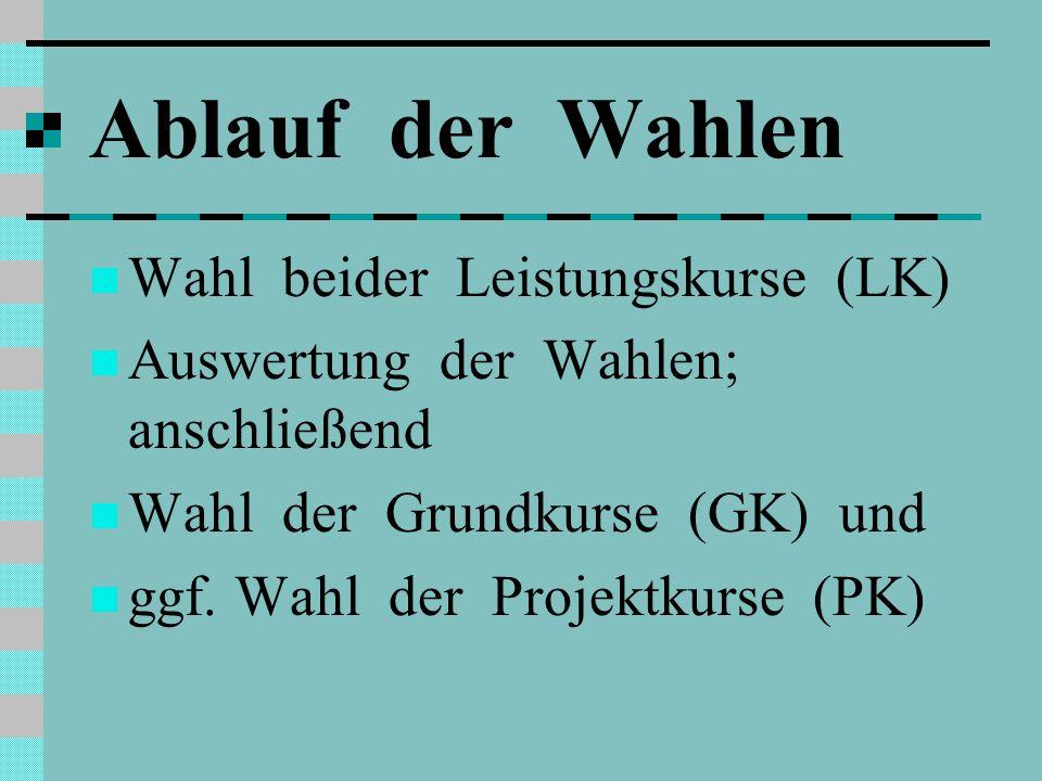 Ablauf der Wahlen Wahl beider Leistungskurse (LK) Auswertung der Wahlen; anschließend Wahl der Grundkurse (GK) und ggf.