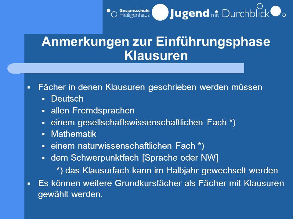 Anmerkungen zur Einführungsphase Klausuren  Fächer in denen Klausuren geschrieben werden müssen  Deutsch  allen Fremdsprachen  einem gesellschafts