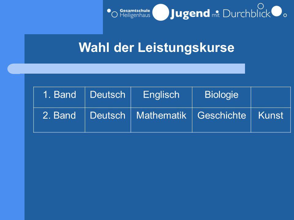 Wahl der Leistungskurse 1.BandDeutschEnglischBiologie 2. BandDeutschMathematikGeschichteKunst