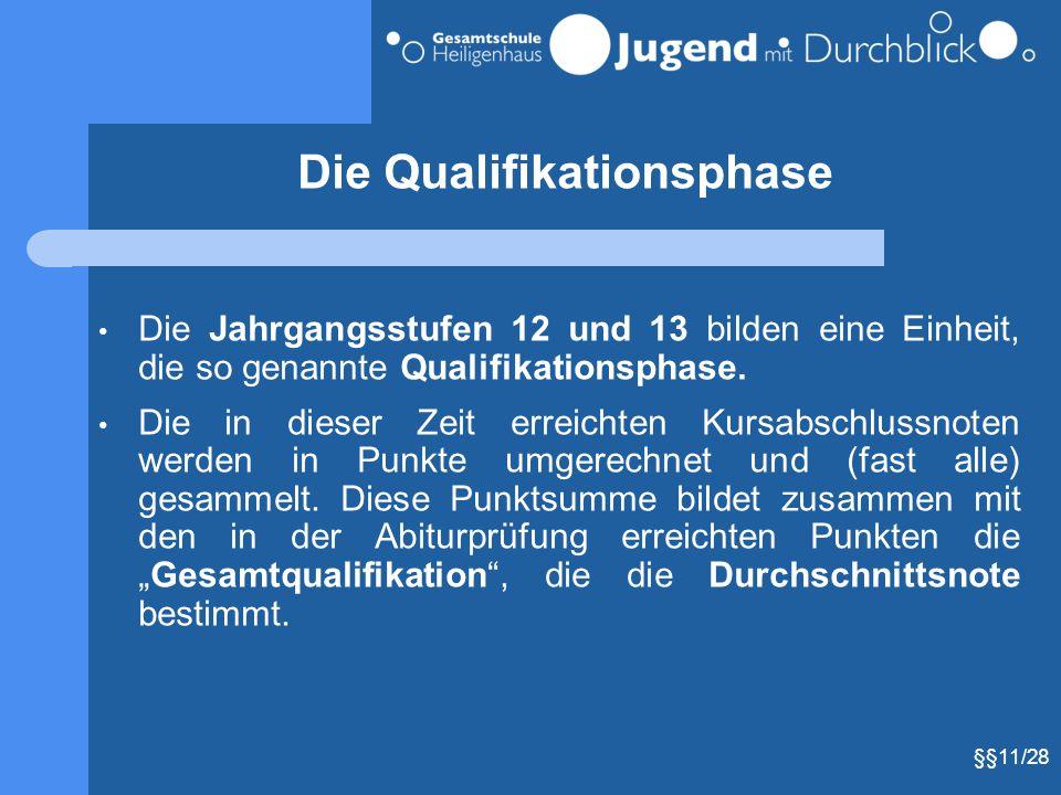Die Qualifikationsphase Die Jahrgangsstufen 12 und 13 bilden eine Einheit, die so genannte Qualifikationsphase. Die in dieser Zeit erreichten Kursabsc