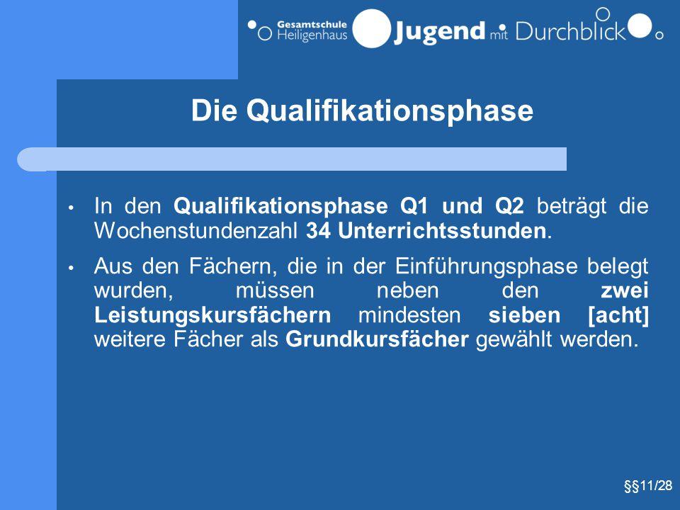Die Qualifikationsphase In den Qualifikationsphase Q1 und Q2 beträgt die Wochenstundenzahl 34 Unterrichtsstunden. Aus den Fächern, die in der Einführu