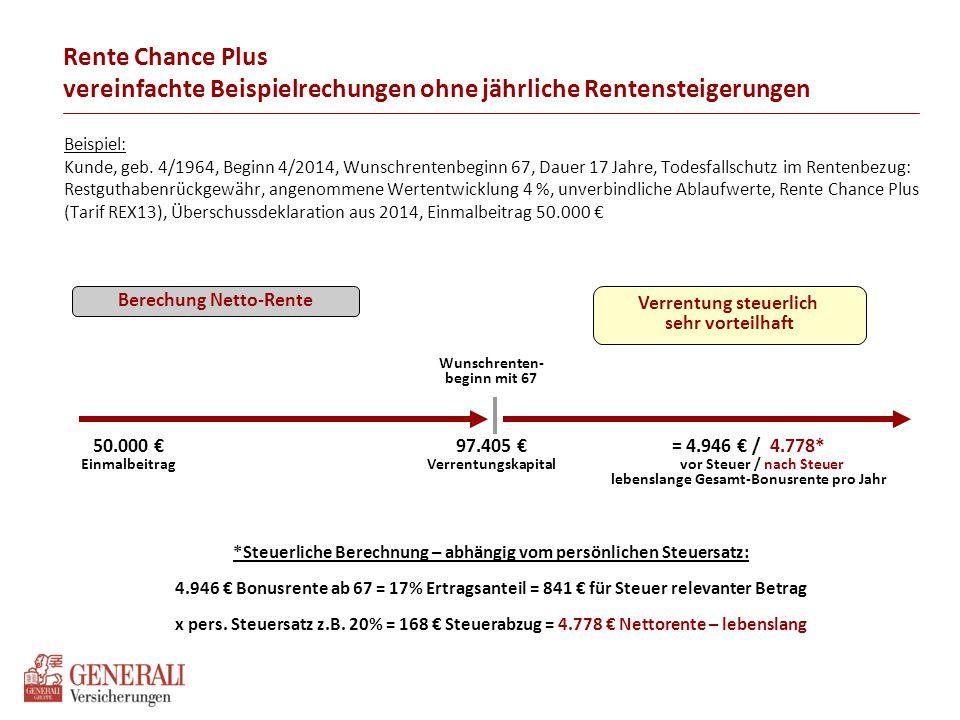 Berechung Netto-Rente Beispiel: Kunde, geb. 4/1964, Beginn 4/2014, Wunschrentenbeginn 67, Dauer 17 Jahre, Todesfallschutz im Rentenbezug: Restguthaben