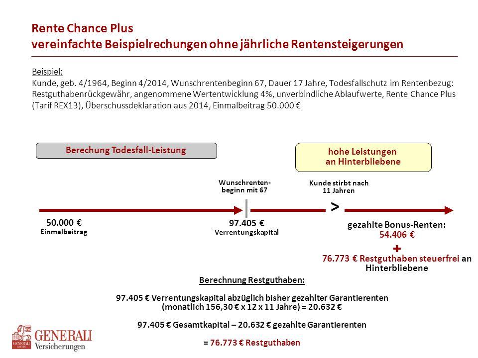 Beispiel: Kunde, geb. 4/1964, Beginn 4/2014, Wunschrentenbeginn 67, Dauer 17 Jahre, Todesfallschutz im Rentenbezug: Restguthabenrückgewähr, angenommen