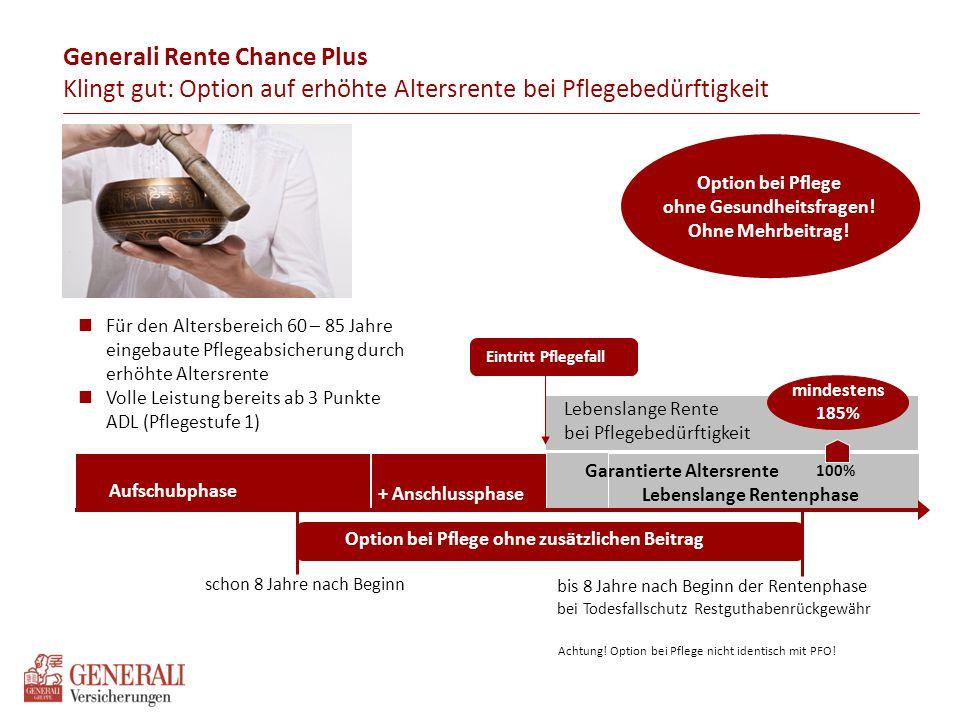 Generali Rente Chance Plus Klingt gut: Option auf erhöhte Altersrente bei Pflegebedürftigkeit Lebenslange Rentenphase Aufschubphase + Anschlussphase E