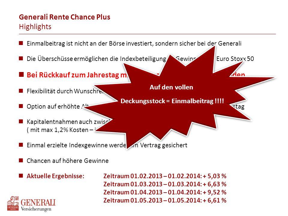 Generali Rente Chance Plus Gewinne einstreichen – Verluste wegstreichen Wie wirkt sich das Überschuss-System Indexbeteiligung auf das Guthaben aus.