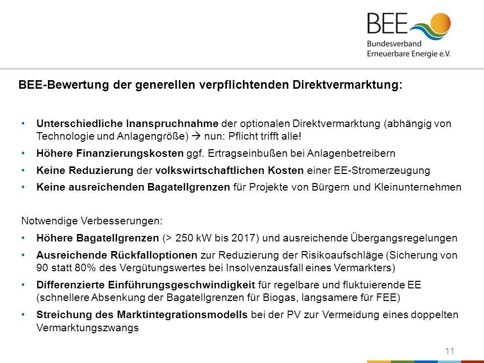 11 BEE-Bewertung der generellen verpflichtenden Direktvermarktung: Unterschiedliche Inanspruchnahme der optionalen Direktvermarktung (abhängig von Tec