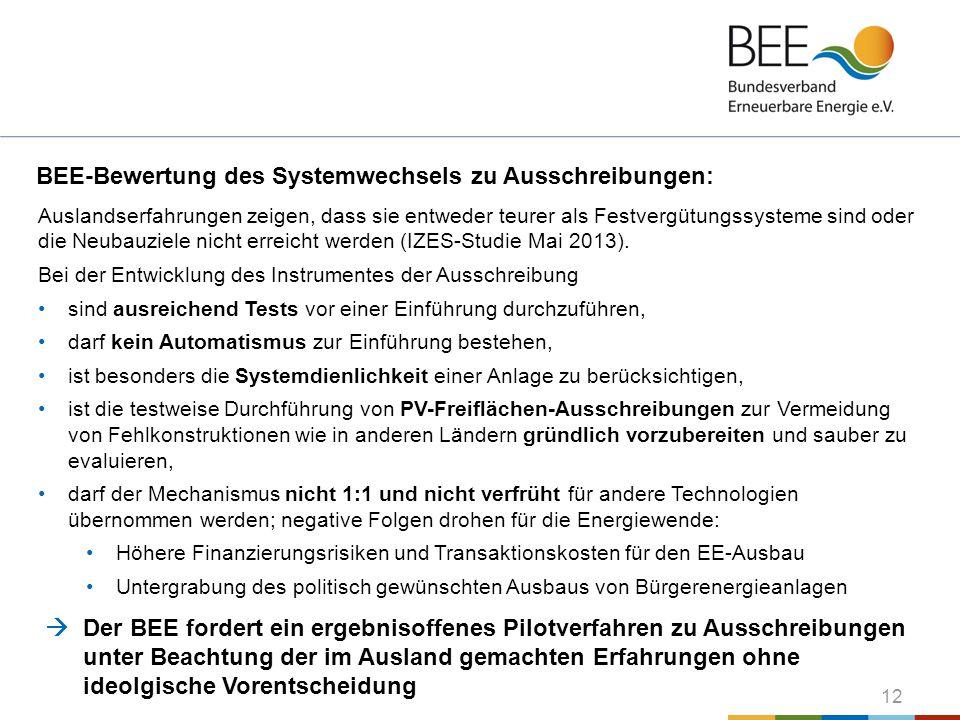 12 BEE-Bewertung des Systemwechsels zu Ausschreibungen: Auslandserfahrungen zeigen, dass sie entweder teurer als Festvergütungssysteme sind oder die N