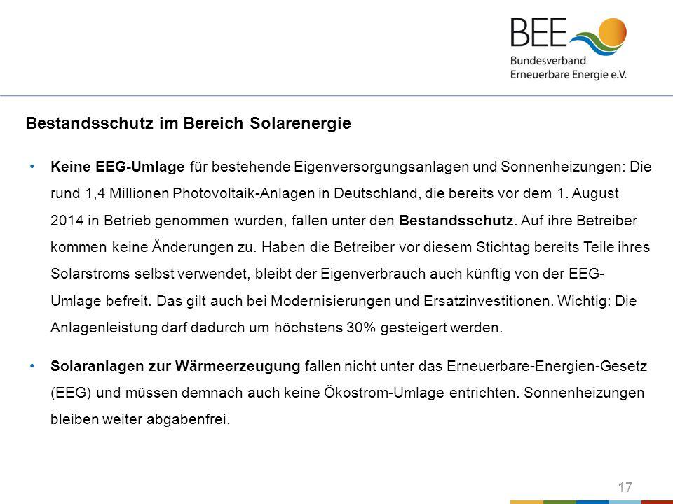 17 Bestandsschutz im Bereich Solarenergie Keine EEG-Umlage für bestehende Eigenversorgungsanlagen und Sonnenheizungen: Die rund 1,4 Millionen Photovol