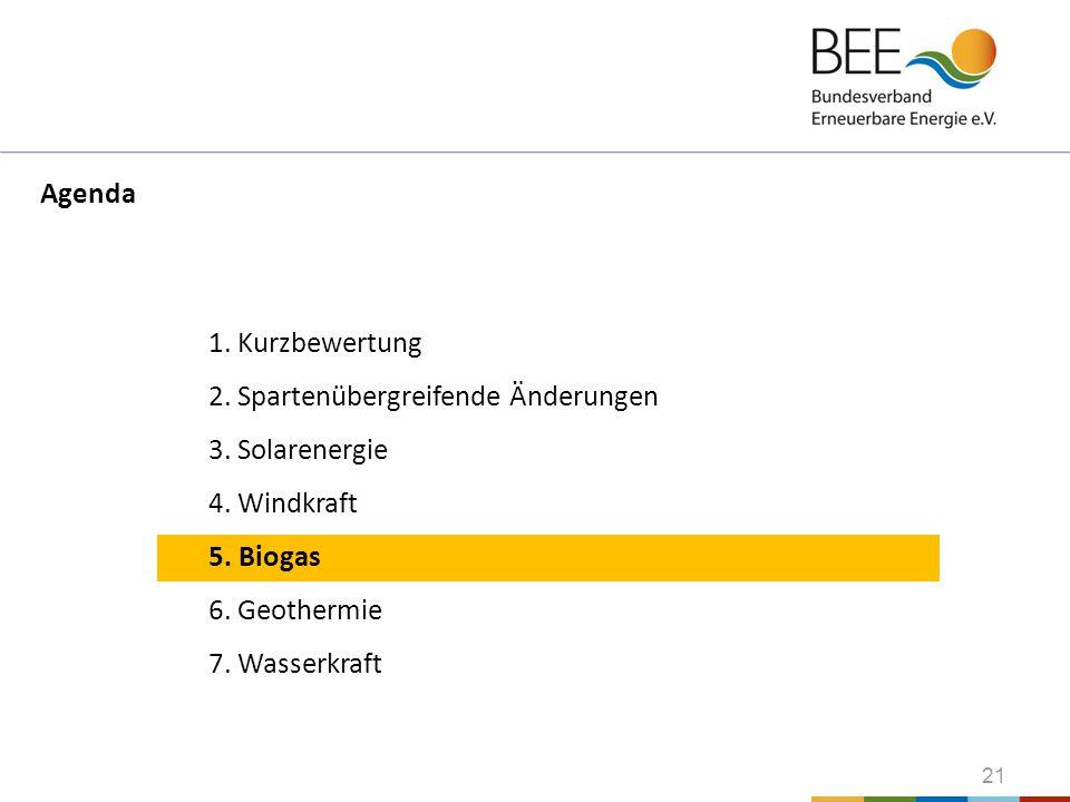 21 1. Kurzbewertung 2. Spartenübergreifende Änderungen 3. Solarenergie 4. Windkraft 5. Biogas 6. Geothermie 7. Wasserkraft Agenda