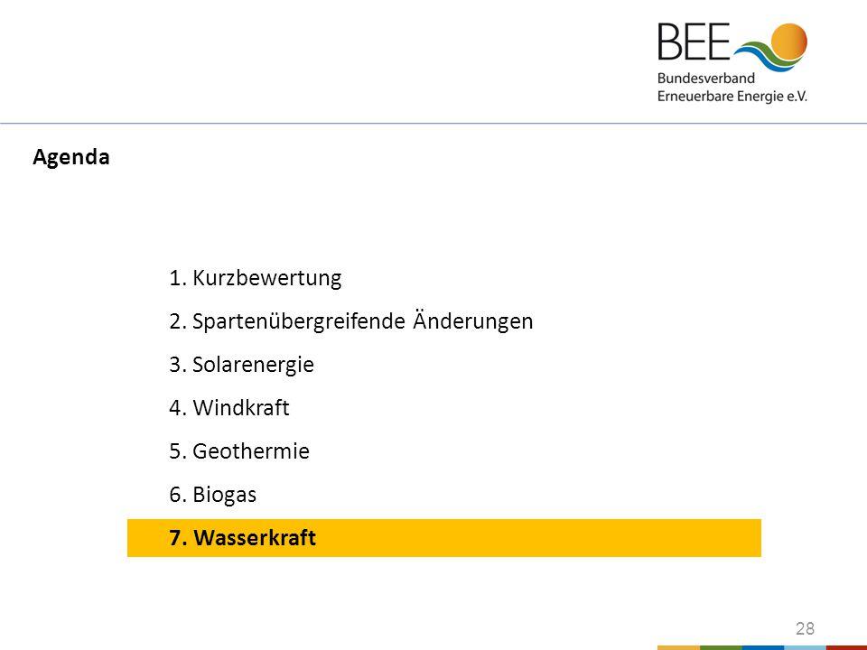 28 1. Kurzbewertung 2. Spartenübergreifende Änderungen 3. Solarenergie 4. Windkraft 5. Geothermie 6. Biogas 7. Wasserkraft Agenda