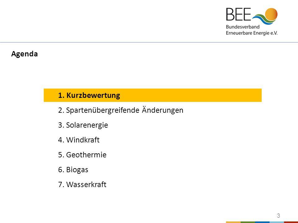 3 1. Kurzbewertung 2. Spartenübergreifende Änderungen 3. Solarenergie 4. Windkraft 5. Geothermie 6. Biogas 7. Wasserkraft Agenda