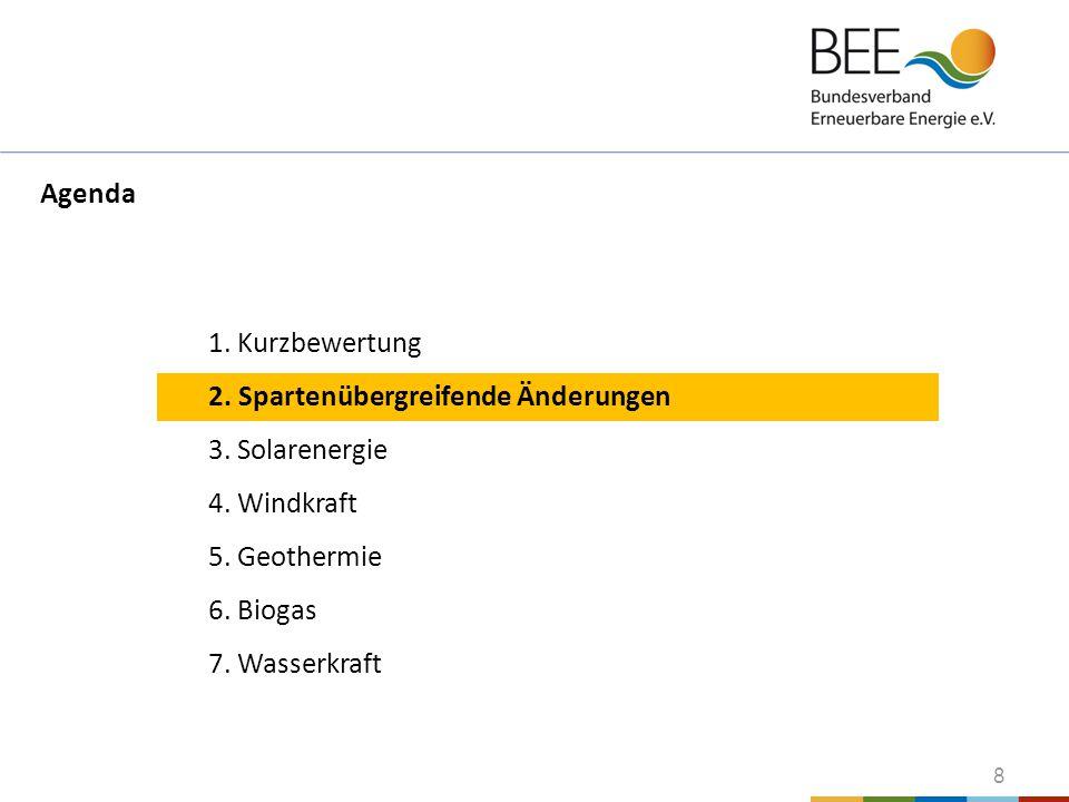 8 1. Kurzbewertung 2. Spartenübergreifende Änderungen 3. Solarenergie 4. Windkraft 5. Geothermie 6. Biogas 7. Wasserkraft Agenda