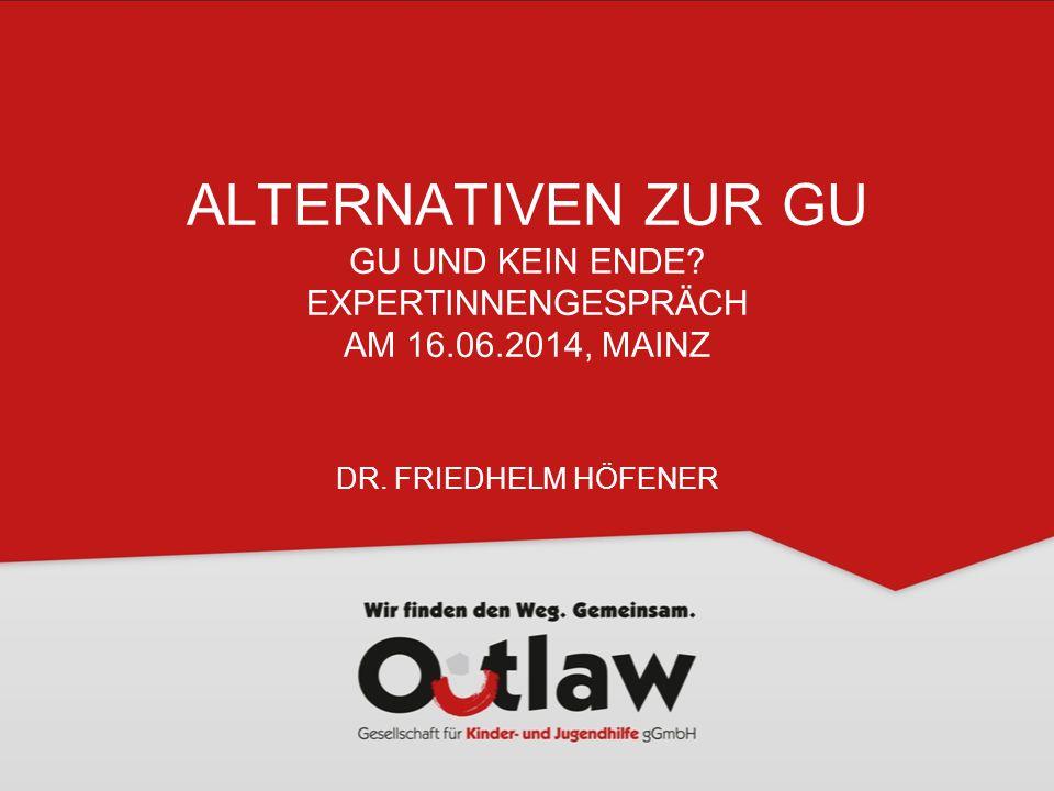 ALTERNATIVEN ZUR GU GU UND KEIN ENDE? EXPERTINNENGESPRÄCH AM 16.06.2014, MAINZ DR. FRIEDHELM HÖFENER