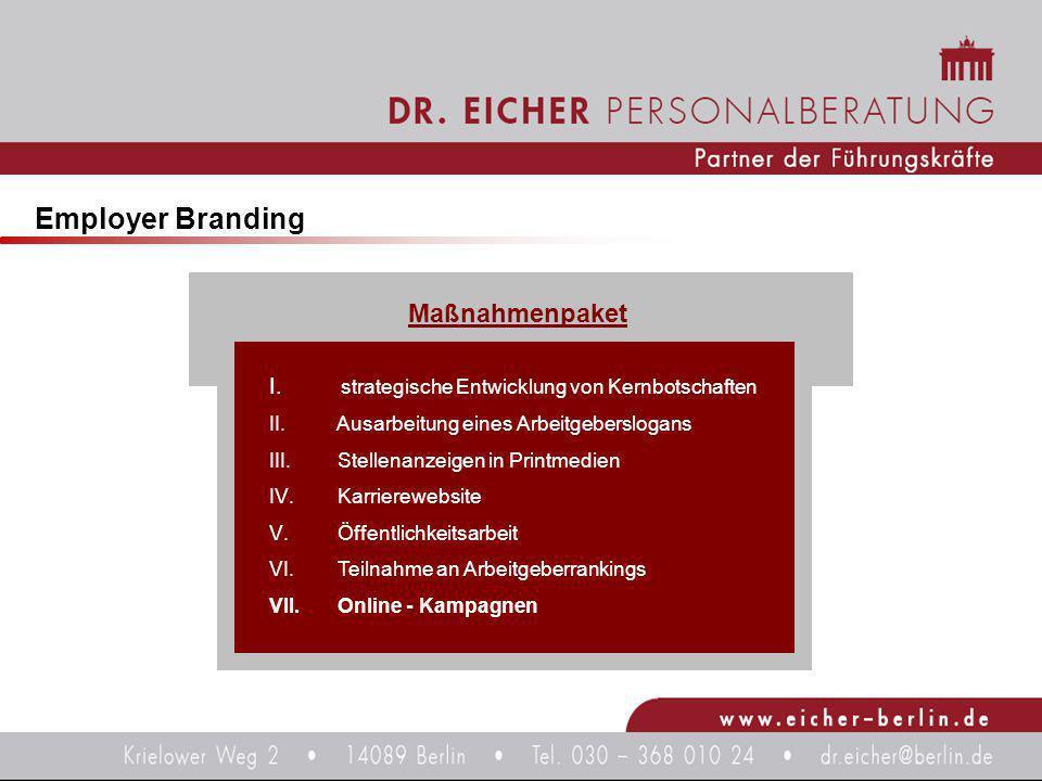 Employer Branding I. strategische Entwicklung von Kernbotschaften II. Ausarbeitung eines Arbeitgeberslogans III. Stellenanzeigen in Printmedien IV. Ka