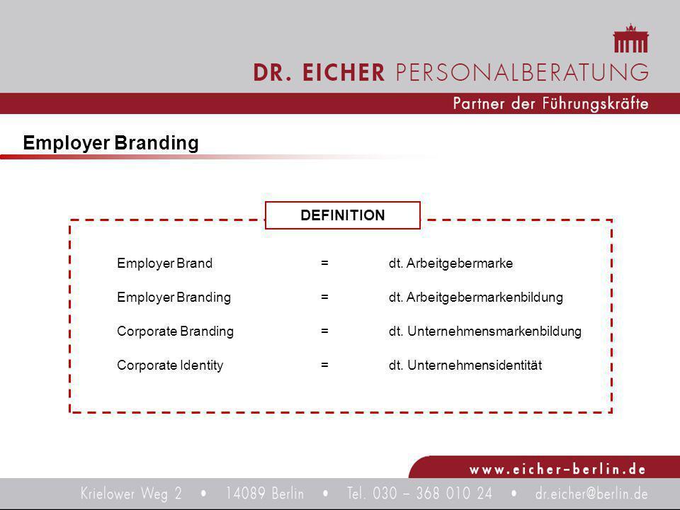 DEFINITION Employer Branding Employer Brand = dt. Arbeitgebermarke Employer Branding= dt. Arbeitgebermarkenbildung Corporate Branding=dt. Unternehmens