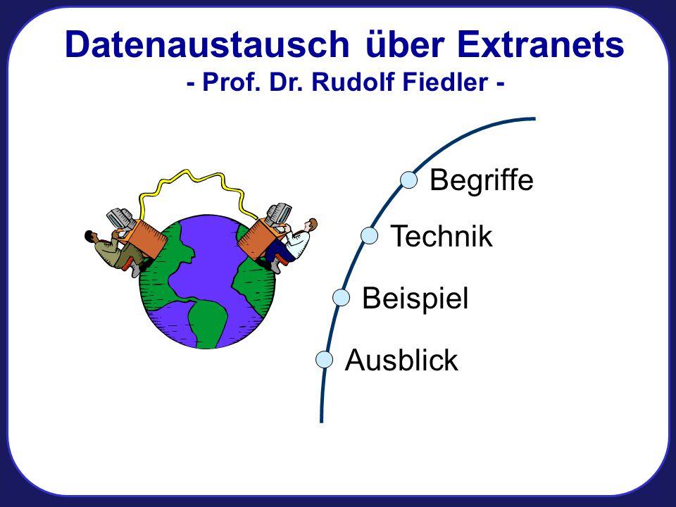 Datenaustausch über Extranets - Prof. Dr. Rudolf Fiedler - Begriffe Beispiel Ausblick Technik