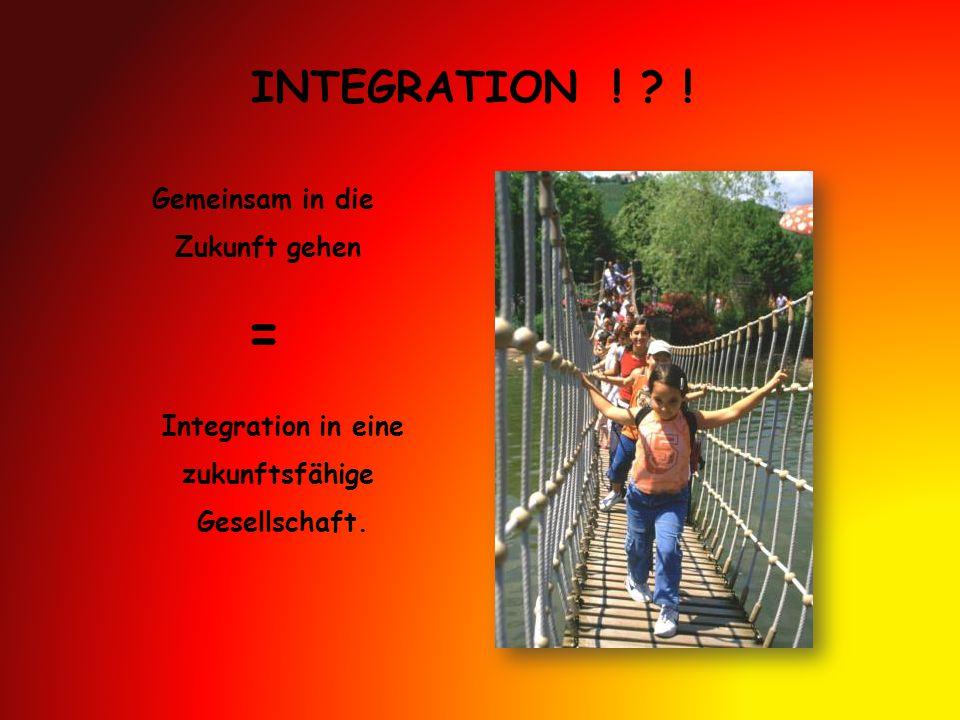INTEGRATION ! ? ! Gemeinsam in die Zukunft gehen = Integration in eine zukunftsfähige Gesellschaft.