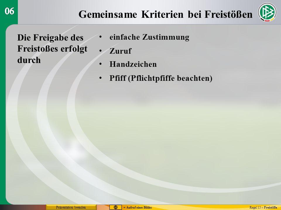 Gemeinsame Kriterien bei Freistößen Regel 13 – Freistöße einfache Zustimmung Zuruf Handzeichen Pfiff (Pflichtpfiffe beachten) Die Freigabe des Freisto