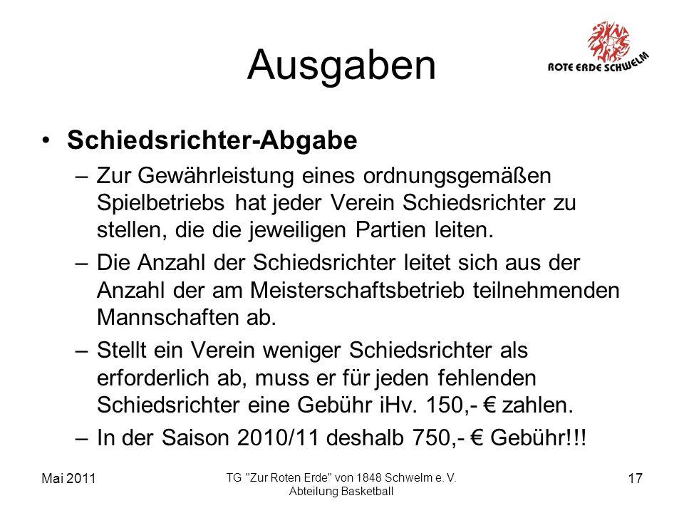 Mai 2011 TG Zur Roten Erde von 1848 Schwelm e. V.