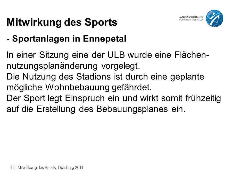 12 | Mitwirkung des Sports, Duisburg.2011 Mitwirkung des Sports - Sportanlagen in Ennepetal In einer Sitzung eine der ULB wurde eine Flächen- nutzungsplanänderung vorgelegt.